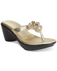 Callisto | Metallic Juli Embellished Wedge Sandals | Lyst