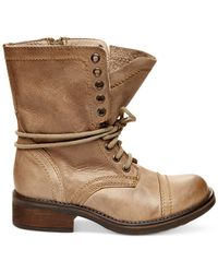 Steve Madden - Natural Tropa 2.0 Leather Combat Boots - Lyst
