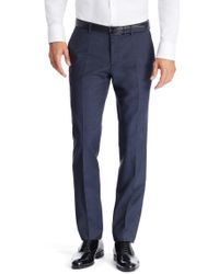 BOSS - Blue 'genesis' | Slim Fit, Virgin Wool Dress Pants for Men - Lyst