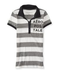 Aéropostale | Gray Aero Sparkle Striped Jersey Polo for Men | Lyst