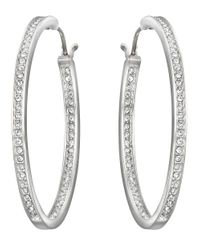 Swarovski | Metallic Ready Silvertone Oval Crystal Hoop Earrings | Lyst