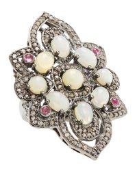 Bavna - Metallic Opal Tourmaline Champagne Diamond Flower Ring Size 7 - Lyst