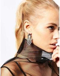 Pieces - Metallic Arrow Earrings - Lyst