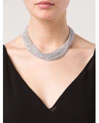 Brunello Cucinelli - Metallic Ball Chain Choker Necklace - Lyst