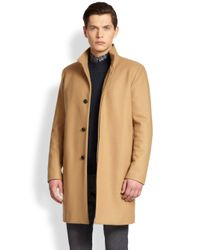 Theory - Brown Belvin Topcoat for Men - Lyst