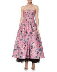Rebecca Taylor - Blue Strapless Floral Brocade Ball Gown - Lyst