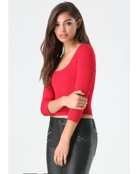 Bebe | Red Ribbed Scoopneck Sweater | Lyst