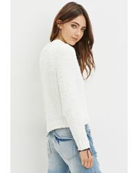 Forever 21 | White Fuzzy Mock Neck Sweater | Lyst
