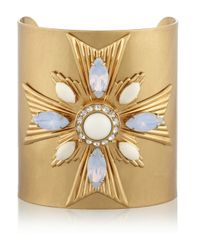 Tory Burch | Metallic Selma Gold-Plated, Crystal And Resin Cuff | Lyst