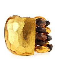 Viktoria Hayman   Metallic Tiger Wood And Gold Bead Cuff Bracelet   Lyst