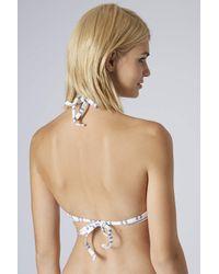 TOPSHOP - White Textured Stripe Plunge Bikini Top - Lyst