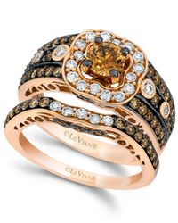 Le Vian - Multicolor Chocolate And White Diamond Bridal Set In 14k Rose Gold (1-7/8 Ct. T.w) - Lyst