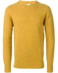 Aspesi - Yellow Crew Neck Sweater for Men - Lyst