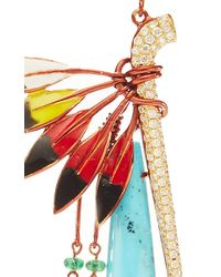 Lydia Courteille - Blue One Of A Kind Indian Leged Turquoise Fan Earrings - Lyst