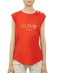 Balmain - Red Logo Muscle Tank - Lyst