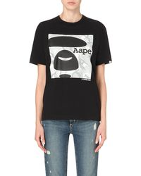 Aape - Black Branded Cotton-jersey T-shirt - Lyst