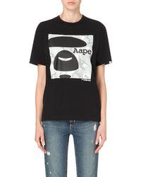 Aape - Black Branded Cotton-jersey T-shirt - Lyst