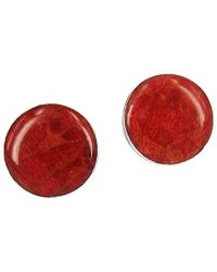 Aeravida - Nice Round Red Coral .925 Silver Post Earrings - Lyst