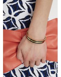 Marc By Marc Jacobs | Metallic Black Striped Enamel Bangle | Lyst