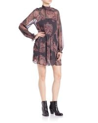 Free People | Black Moonstruck Paisley Chiffon Mini Dress | Lyst