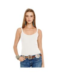 Polo Ralph Lauren - White Ribbed Cotton Scoopneck Tank - Lyst