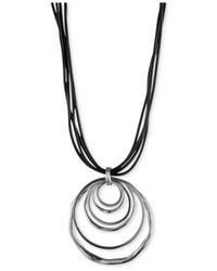 Anne Klein - Metallic Silver-tone Orbital Pendant Necklace - Lyst