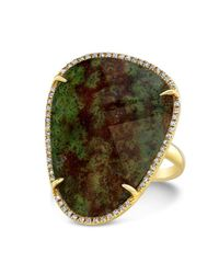 Anne Sisteron - Green 14kt Yellow Gold Blood Stone Diamond Organic Shape Diamond Cocktail Ring - Lyst