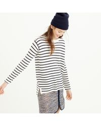 J.Crew | Blue Striped Leather Panel Swing Sweater | Lyst