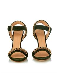 Giuseppe Zanotti - Green Chain-Embellished Suede Cork Wedges - Lyst