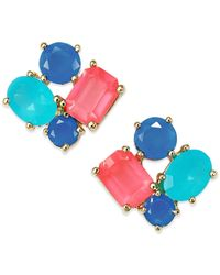 kate spade new york - 14k Gold-plated Multicolor Stone Cluster Stud Earrings - Lyst