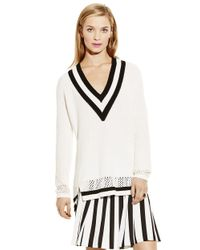 Vince Camuto - White Pointelle-Trimmed Sweater - Lyst
