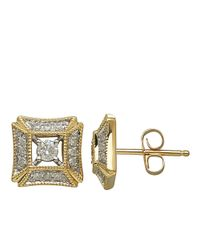 Lord & Taylor | Metallic 14Kt Yellow Gold And 0.25 Ct T W Diamond Earrings | Lyst