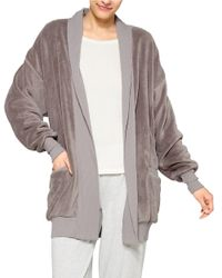 Hue | Gray Fleece Cardigan Robe | Lyst