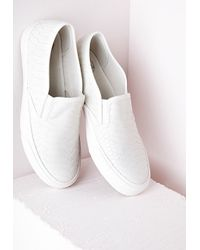 Missguided - Slip On Skater Pumps White Mock Croc - Lyst