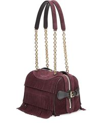 Burberry Prorsum - Purple Fringed Suede Shoulder Bag - Red - Lyst