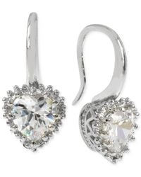 Betsey Johnson | Metallic Silver-tone Crystal Heart Drop Earrings | Lyst