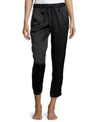 Josie Natori - Black Drawstring Silk Lounge Pants - Lyst