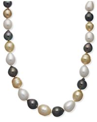 Macy's - White Pearl Necklace, 14k Gold Tri-tone Pearl Necklace (9-11mm) - Lyst
