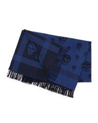 Alexander McQueen - Blue Reversible Skull/Plaid Woven Blanket - Lyst