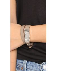 Tory Burch - For Fitbit Leather Bracelet - French Gray/tory Silver - Lyst