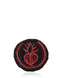 Ann Demeulemeester - Red Medium Heart Embroidery Cotton Blend Pin - Lyst