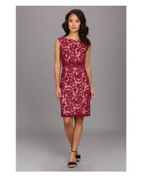 Adrianna Papell - Red Lace Sheath W Nude Lining - Lyst