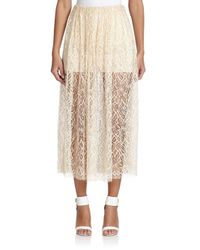 Adam Lippes - White Double-layer Lace Midi Skirt - Lyst