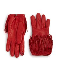 Diane von Furstenberg | Red Fringed Leather Gloves | Lyst