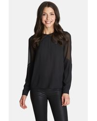1.STATE | Black Sheer Yoke Blouse | Lyst
