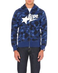 A Bathing Ape | Blue Camouflage-print Branded Hoody for Men | Lyst
