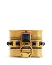 Alexander McQueen | Black Tiger Eye Stone Brass Cuff | Lyst