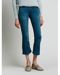 Free People | Blue Pull On Cropped Flare | Lyst