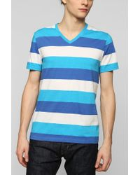 BDG - Blue Triple Bar Stripe Vneck Tee for Men - Lyst