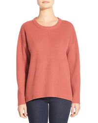 Madewell | Orange 'bryn' Ribbed Pullover | Lyst